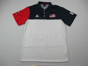 Team USA Peak Sport Polo Shirt Men's White/Navy Poly NEW L