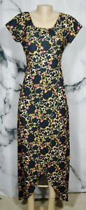 THIEVES LIKE US Black Multicolor Patterned Hi Low Maxi Dress Medium Short Sleeve