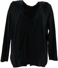 AnyBody Loungewear Cozy Knit Hooded Cardigan Black L NEW A349790
