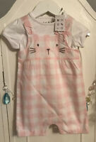 Baby Girls Pretty Pink Check Kitten Suit With Top Nutmeg New 6-9M