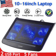 LESHPl Gaming Laptop Cooler Notebook Cooling Pad 5 Silent Blue LED Fan T9 US