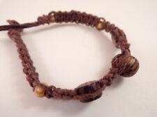Men's Wood Beaded Macrame Hemp Loop Closure Bracelet #4 7 Inches