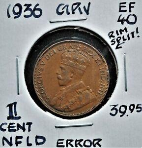 Flawed Planchet Error - 1936 Newfoundland One Cent