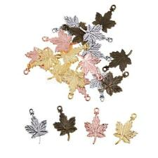Wholesale 30pcs Mixed Color Maple Leaf Charm Pendant Beaded Jewelry DIY