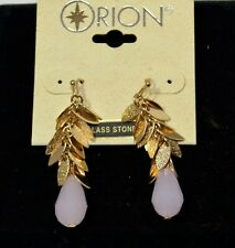 NWT Signed Orion Pink Glass Faceted Stone Gold tone Hook Dangle Earrings 2b 16