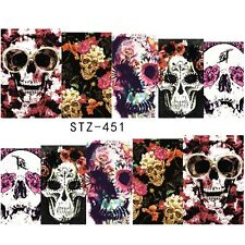 Nail Art Water Decals Full Wraps Halloween Skulls Gothic Flowers Gel Polish 451