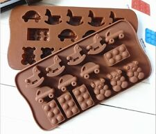 15 Cute Cockhorse Silicone Cake Mould Baking Chocolate Ice Cube Tray Car Bear