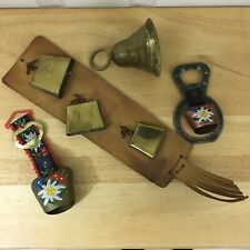 Vintage Austrian Cow Bells With Strap And Other Assorted Bells See Pictures