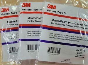 """3 ROLLS Master Foil+ 1 Mil Copper Foil 7/32"""" Venture Tape 36 Yd 1710 732 Popular"""