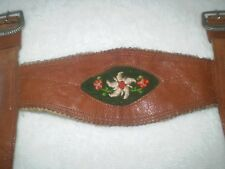 RARA ORIGINAL ANTIQUE VINTAGE CHILD galluses LEATHER    EDELWEISS EMBROIDERY