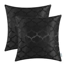 2Pcs Black Cushion Covers Pillows Shells Cases Geometric Home Sofa Decor 45x45cm