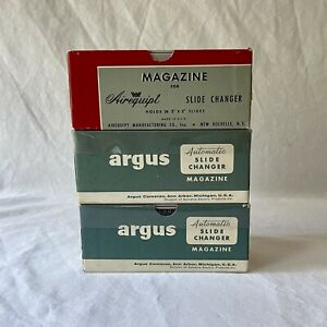 Lot Of 3 Vintage Slide Changer Magazine Cartridges, Argus Airequipt