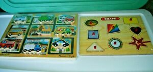 Lot of 4 puzzles-(1Curious George(1Shape Sorting cube(1Maze Vehicle(1Shape Knob
