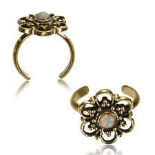 Synthetic White Opal Mid-Ring Boho Gypsy Solid Brass Tribal Toe Ring Mandala