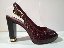 TORY BURCH Cranberry ALLISON Patent Leather Heels 8 B $295 burgundy wine