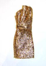 Barbie Fashion Golden Metallic Dress For Model Muse Dolls fn815