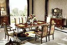 Mesa de Comedor 6 Sillas Clásico Conjunto Barroco Rococo Sillón Madera