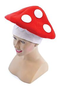 Adults  Mushroom Toadstool Hat Mario Fancy Dress Costume Fairy Tale Nature Hat