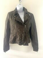 Free People Brown Metallic Faux Leather Moto Jacket Womens Sz 4 Bomber Style