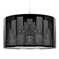 Large Gloss Black Metal New York Skyline Ceiling Pendant Light Shade Lampshade