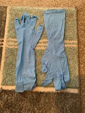 5 Pairs Of Long Nitrile Gloves. Medium Hand Size (8). 400mm Long