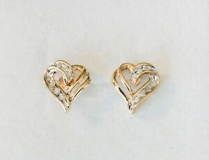 Vintage 10K Yellow Gold Heart Pierced Diamond Earrings 1/10ct TW - Not Scrap