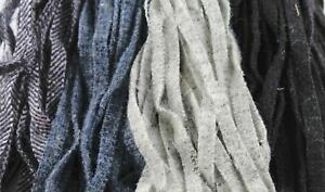 100 Assorted Blacks and Grays #8 Wool Strips for Rug Hooking