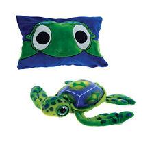"Pillow 18"" Reversible Green Sea Turtle Peek-A-Boo Plush Cuddle Travel Buddy 3+"