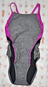 Speedo swimsuit one-piece PRO LT Competitive Womens 6/32 Pro LT new Grey Black