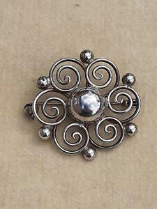 Vintage DANISH Sterling Silver MODERNIST BROOCH Circular Arts & Crafts Design