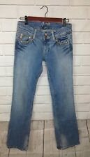 Miss Me Womens Jeans Cotton Boot Cut Light Wash Studded Bling Pockets Size 28