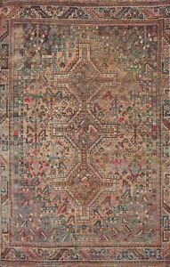 Antique Abadeh Geometric Tribal Hand-knotted Area Rug Classic Oriental Wool 5x7