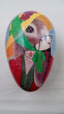 1980s West German Paper Mache Easter Egg Candy Container Box Lady Bunny Rabbit
