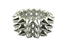 METALLIC SILVER CYBER SPIKE BRACELET STUDDED ROCK GOTH PUNK EMO CANDY RAVE