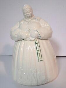 Vintage McCoy Female Cookie Jar White Glaze Green Checks, EXCELLENT Condition
