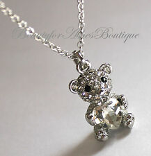 Girls Womens Cute Teddy Bear Love Heart CZ Fun Pendant Necklace
