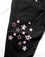 XS BLACK NEON STARS & HEARTS CAPRI TROUSERS PANTS PSYCHOBILLY PUNK SKA SKATER