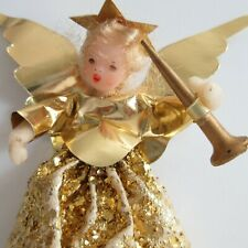 Vintage German Wax Head and Hands Christmas Angel Tree Topper Glitter 6 in Horn