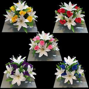 Grave Artificial/Silk flower arrangement grave memorial pot crem vase New Design