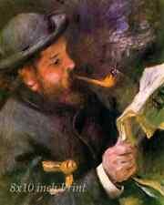 Claude Monet Reading a Newspaper by Auguste Renoir - Artist Art 8x10 Print 2298
