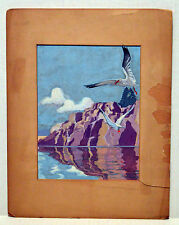 "9"" Antique 1938 Watercolor Painting on Paper Seascape with Seagulls"