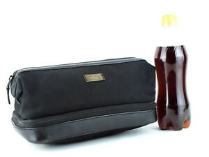 Auth GUCCI Vintage Black Nylon & Leather Cosmetic Accessories Pouch Clutch Bag