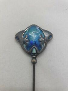 Antique Silver Guilloche Art Nouveau Hat Pin 1909 Enamel