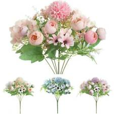 Roses Buds Silk Flowers Wedding Bouquets Centerpiece Fake Faux Artificial Decor
