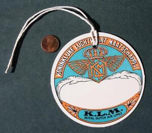 1950-60s Era K.L.M. Royal Dutch Air Lines colorful round cardboard luggage tag!