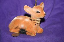 Vintage reindeer ornament flocked bambi
