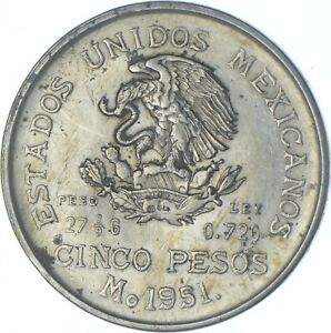 Better Date - 1951 Mexico 5 Pesos - SILVER *596