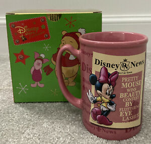 Disney Store Exclusive Minnie Mouse News Large Pink Mug + Christmas Gift Box!
