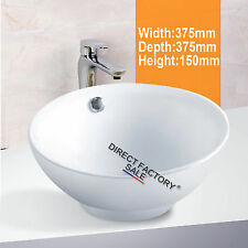 ABOVE COUNTER TOP BASIN BATHROOM VANITY BENCH-TOP ROUND CERAMIC WHITE HEAVY DUTY