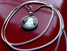 "Sailboat Blue Schooner 1965 CANADA SILVER Coin Pendant  30/"" Silver Snake Chain"